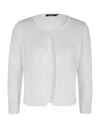 Olsen Paradise Garden Short Cardigan-WHITE-EUR 36/US 6