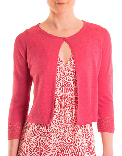 Olsen Paradise Garden Short Cardigan-RED-EUR 42/US 12