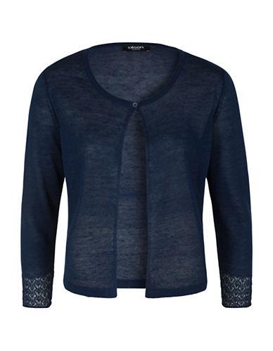 Olsen Paradise Garden Short Cardigan-BLUE-EUR 46/US 16