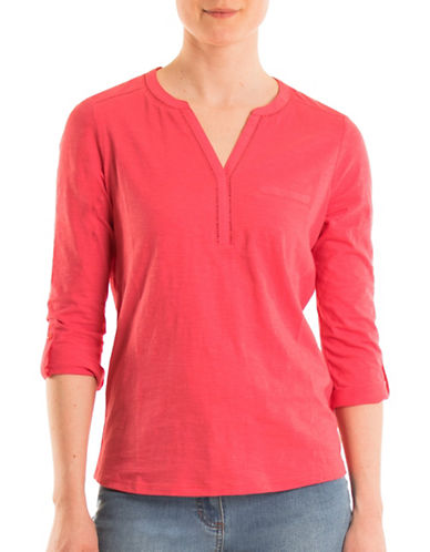 Olsen Three-Quarter Sleeves Split Neck Cotton Tee-HIBISCUS-EUR 34/US 4