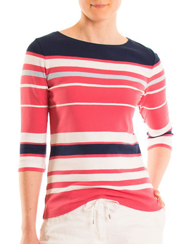 Olsen Stripe Cotton Tee-HIBISCUS MULTI-EUR 46/US 16