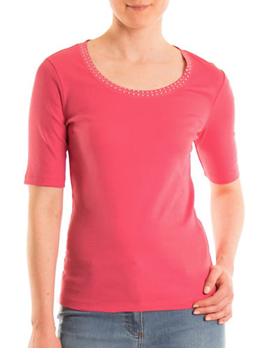 Olsen Piet Neck Cotton Tee-HIBISCUS-EUR 44/US 14
