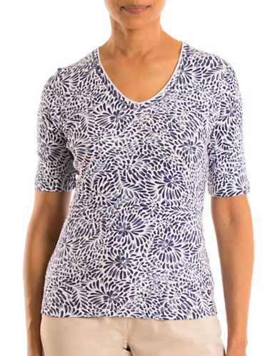 Olsen V-Neck Flower Print Cotton Tee-BLUE MULTI-EUR 44/US 14