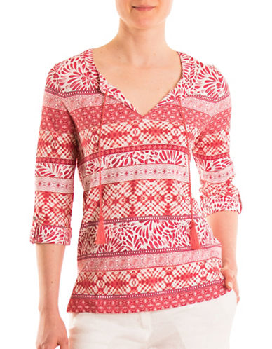 Olsen Multi Pattern Cotton Top-HIBISCUS MULTI-EUR 34/US 4