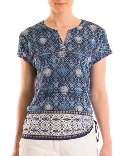 Olsen Printed Side Ruched Top-BLUE MULTI-EUR 44/US 14