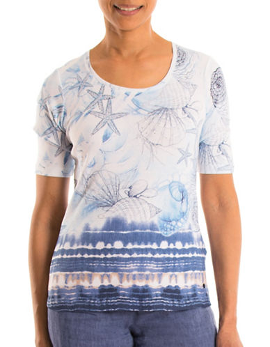 Olsen Shell Border Cotton Tee-BLUE MULTI-EUR 34/US 4