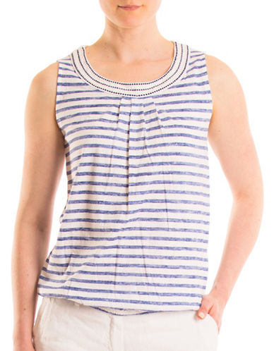 Olsen Embroidered Cotton Tank Top-BLUE MULTI-EUR 46/US 16