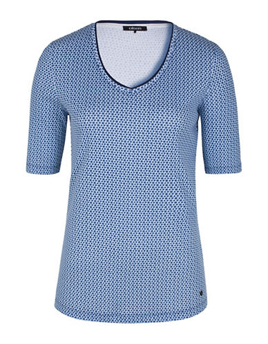 Olsen Paradise Garden V-Neck Small Dot Tee-BLUE-EUR 36/US 6