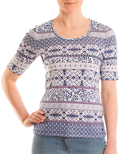 Olsen Multi Cotton Tee-BLUE MULTI-EUR 34/US 4
