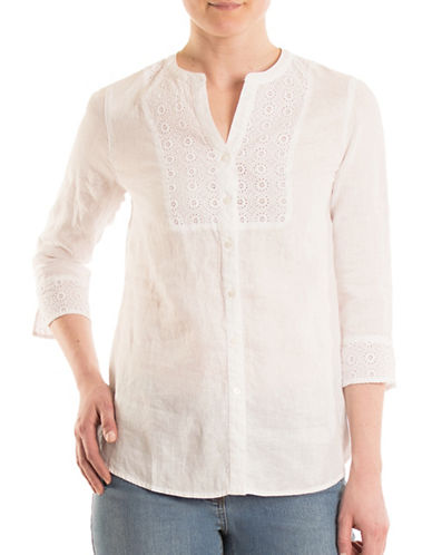 Olsen Bib Embroidered Blouse-WHITE-EUR 44/US 14