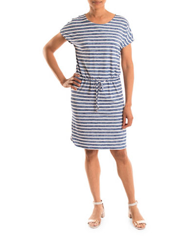 Olsen Stripe Drawstring Sheath Dress-BLUE MULTI-EUR 46/US 16