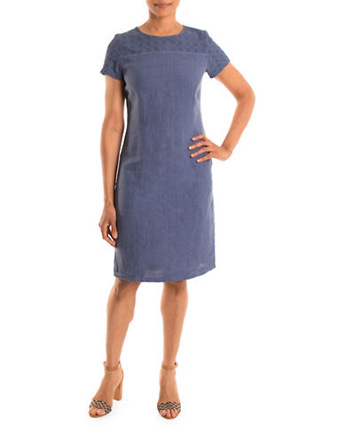 Olsen Linen Sheath Dress-BLUE-EUR 38/US 8