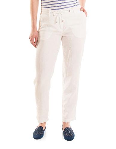 Olsen Paradise Garden Lisa Linen Rollup Pants-WHITE-EUR 46/US 16