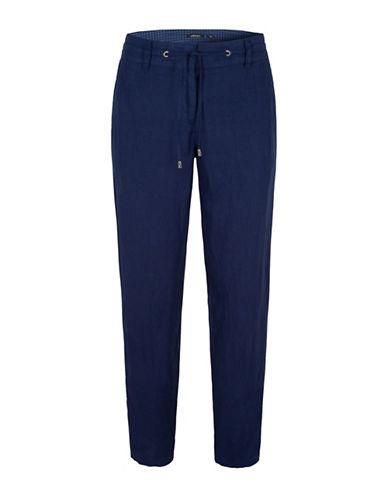 Olsen Paradise Garden Lisa Linen Rollup Pants-BLUE-EUR 42/US 12