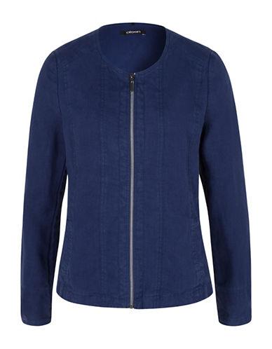 Olsen Paradise Garden Linen Zip Front Jacket-BLUE-EUR 36/US 6
