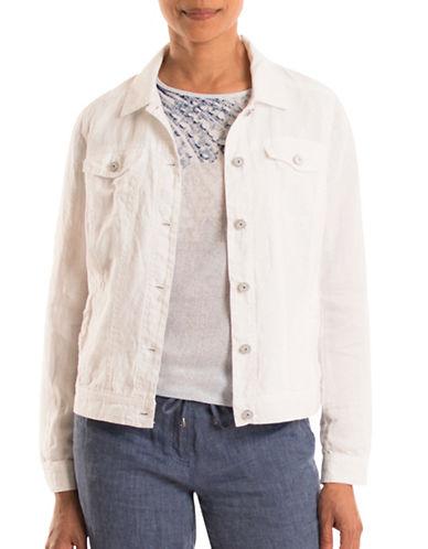 Olsen Linen Jean-Style Jacket-WHITE-EUR 46/US 16