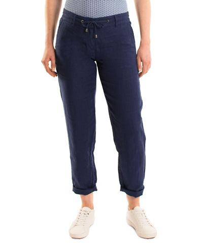 Olsen Paradise Garden Lisa Linen Rollup Pants-BLUE-EUR 38/US 8