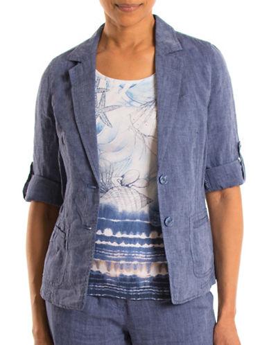 Olsen Paradise Garden Roll Sleeve Blazer-BLUE-EUR 46/US 16