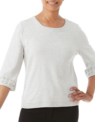 Olsen Three-Quarter Sleeve Sweater-SILVER-EUR 38/US 8