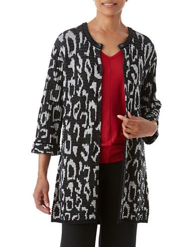 Olsen Animal Jacquard Cardigan-BLACK MULTI-EUR 46/US 16