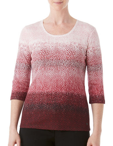 Olsen Pano Animal Print Cotton Tee-RED MULTI-EUR 40/US 10