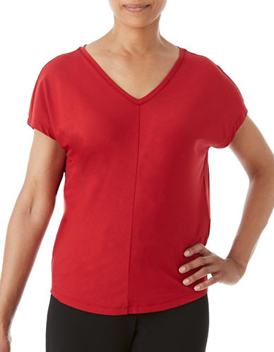Olsen V-Neck Tee-RED-EUR 46/US 16