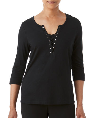 Olsen Lace-Up Tee-BLACK-EUR 36/US 6