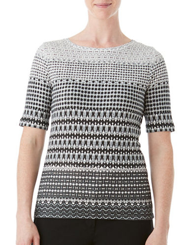 Olsen Signature Print Cotton Tee-BLACK MULTI-EUR 40/US 10