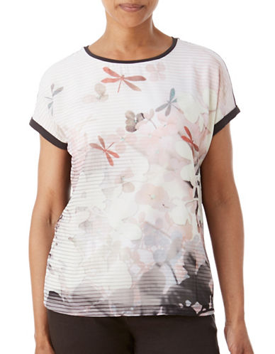 Olsen Soft Delight Chiffon Dragonfly Print Top-ROSE MULTI-EUR 44/US 14
