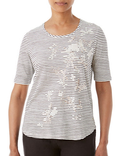 Olsen Soft Delight Stripe Dragonfly Tee-CHOCOLATE MULTI-EUR 40/US 10