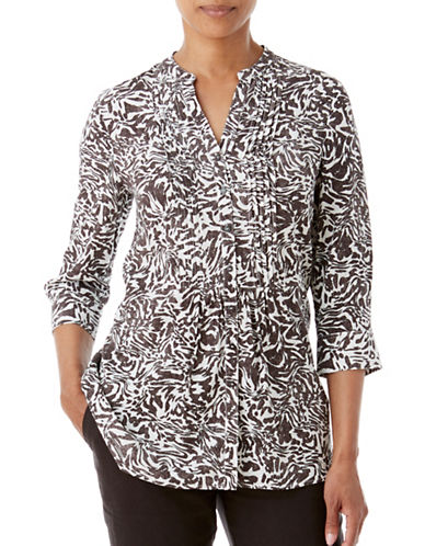 Olsen Soft Delight Swirl-Print Blouse-BROWN MULTI-EUR 38/US 8