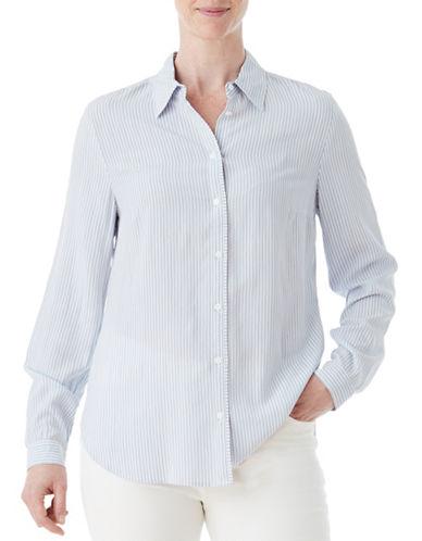 Olsen Soft Delight Stripe Shirt-BLUE-EUR 42/US 12