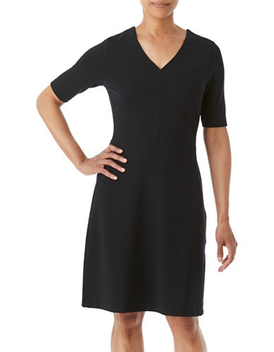 Olsen Centre Seam Ponte Dress-BLACK-EUR 36/US 6