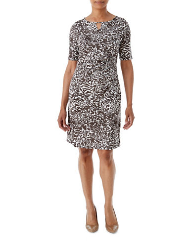 Olsen Soft Delight Swirl-Print Jersey Dress-CHOCOLATE MULTI-EUR 38/US 8
