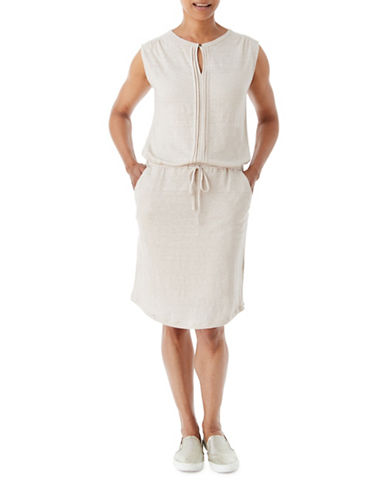 Olsen Soft Delight Linen Drawstring Dress-BROWN-EUR 40/US 10