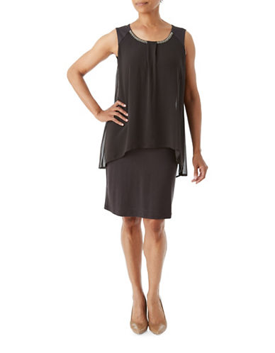 Olsen Soft Delight Embellished Jersey Dress-BROWN-EUR 34/US 4