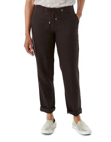 Olsen Paradise Garden Lisa Linen Rollup Pants-BROWN-EUR 40/US 10