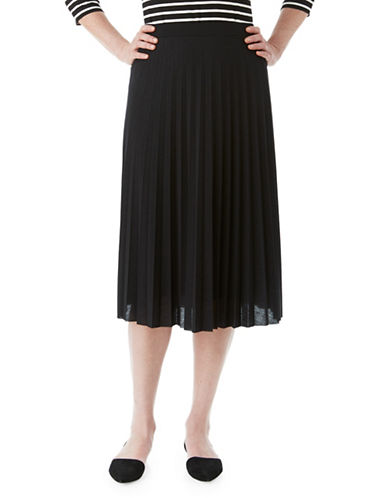 Olsen Pleated Midi Skirt-BLACK-EUR 40/US 10