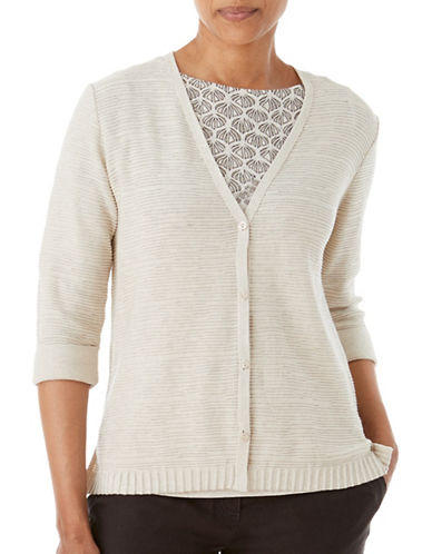 Olsen Soft Delight V-Neck Cardigan-BROWN-EUR 36/US 6