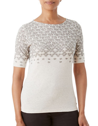 Olsen Soft Delight Boat Neck Fan Print Tee-ALMOND MULTI-EUR 44/US 14