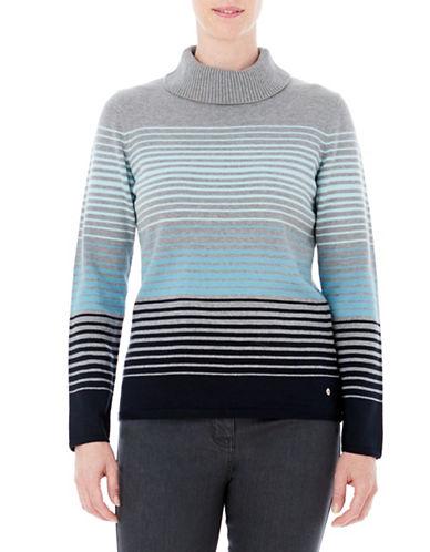 Olsen Stripe Mock Sweater-BLUE-EUR 36/US 6