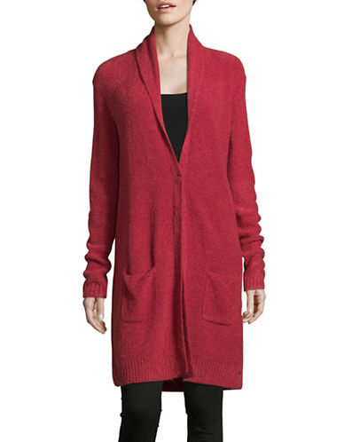 Olsen Shawl Bouclé Cardigan-RED-EUR 36/US 6