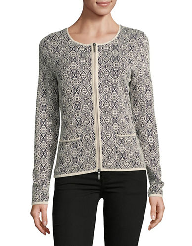 Olsen Two-Tone Jacquard Jacket-ALMOND MULTI-EUR 44/US 14