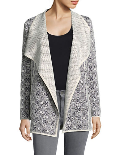 Olsen Two-Tone Open Front Cardigan-BEIGE-EUR 36/US 6