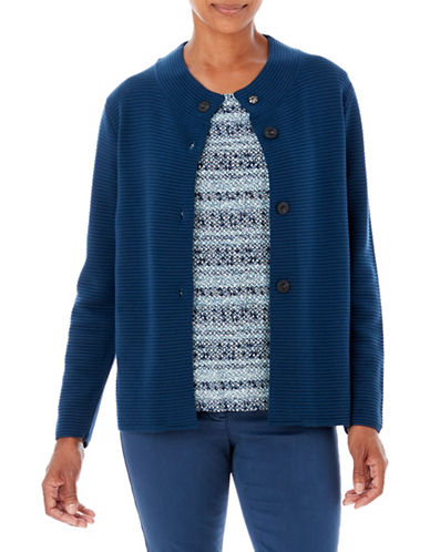 Olsen Ottoman Button Cardigan-BLUE-EUR 34/US 4