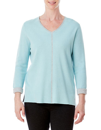 Olsen Double Face Sweater-BLUE-EUR 46/US 16