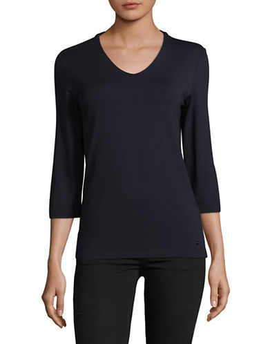 Olsen V-Neck Tee-BLUE-EUR 46/US 16