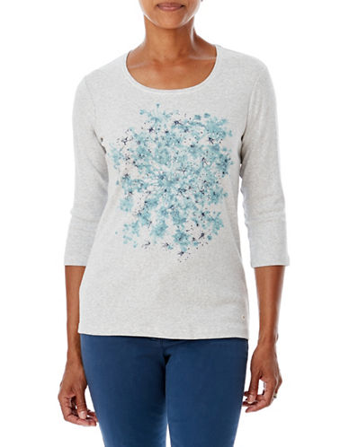 Olsen Printed Cotton Top-SILVER-EUR 36/US 6