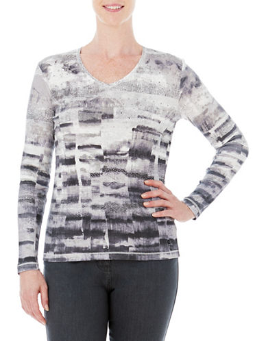 Olsen Border Cotton Tee-GREY-EUR 38/US 8
