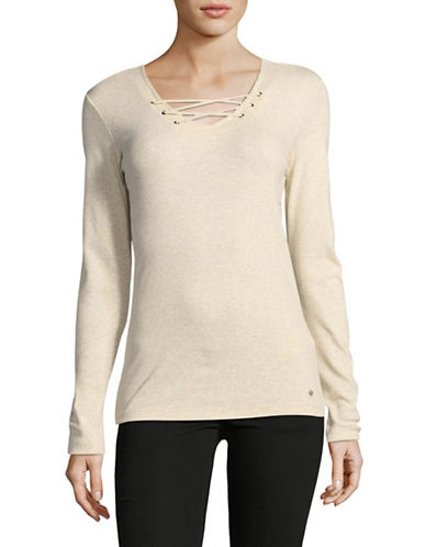 Olsen Long Sleeve Cotton Tee-BEIGE-EUR 44/US 14